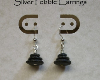 Warren Dunes Lake Michigan Beach Stone Pebble Cairn Earrings - Sterling Silver (.925) French Ear Wires - Nature Inspired Jewelry - OOAK