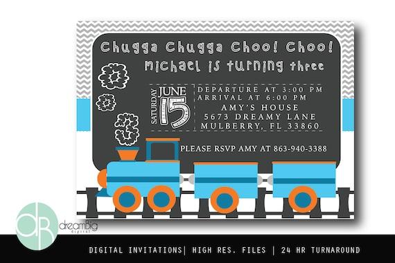 Choo Birthday Invitation Vehicle Transportation Party Train Invite Custom Digital Invitations