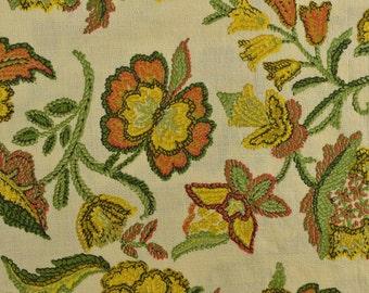 Vintage Cotton Fabric, Cotton Floral Fabric, Barkcloth Fabric, Vintage Barkcloth, Vintage Fabric - 2 1/8 Yards - CFL2070