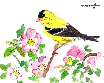 ACEO Limited Editions 2/25- Shades of spring, Goldfinch, Art print of an ACEO original watercolor, Small gift idea for bird lover