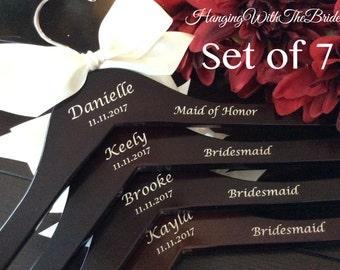 Set of 7 Wedding dress hanger, Wooden Engraved HangerCustom Bridal Hangers,Bridesmaids gift, Wedding hangers with names,Custom made hangers
