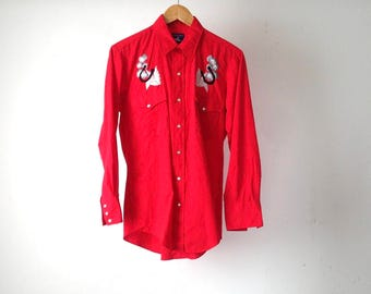 WESTERN shirt vintage red MEN'S embroidered button up shirt