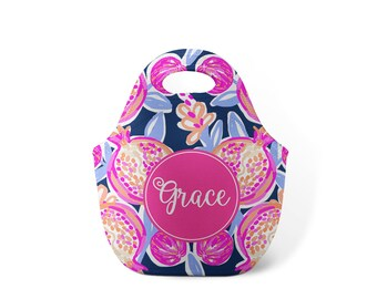 Personalized Lunch Tote - Pomengranate - Custom Lunch tote for Children