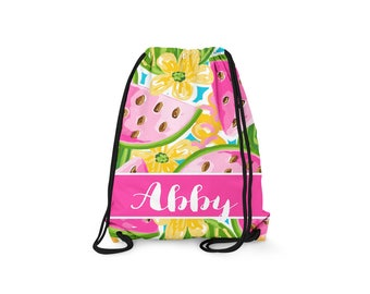 Personalized Drawstring Backpack - Watermelon - Personalized Kids Drawstring Bag