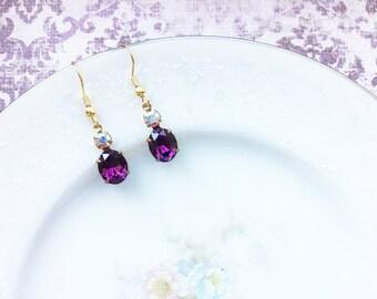 Vintage Swarovski Purple Amethyst AB Earrings, Aurora Borealis and Purple Rhinestones, Gold Tone Settings, Hypoallergenic Nickel free