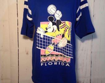 Vintage 80s 90s Disney Mickey Mouse Ringer Tee - Volleyball - Souvenir - Florida - Neon