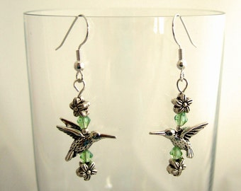 Hummingbird Earrings Swarovski Crystal Earrings Green Earrings Silver Flower Earrings Cool Earrings Gifts Under 20 Christmas Gifts for Her