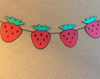 Strawberry garland, baby shower garland, birthday garland, paper strawberry garland,  summer garland