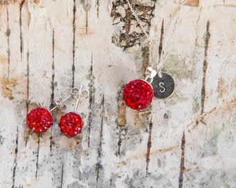 Monogram red crystal ball jewelry set, necklace and earrings, sterling silver, Swarovski disco ball, red or grey, pendant, stud earrings