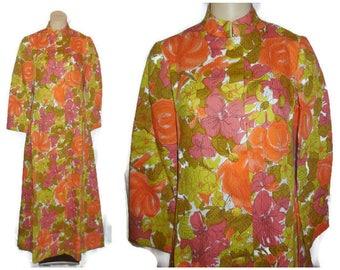 SALE Unworn Vintage 1960s Long Dress Hostess Gown Bright Orange Pink Floral NWT Mandarin Collar Button Front Mod Psychedelic M L chest 38