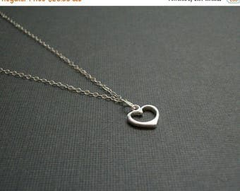 SPRING SALE Heart Necklace Small Sterling Silver Heart Necklace Chain Simple Style Tiny Heart Necklace Womans Delicate Whisper Simple Chain