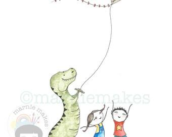 Let's Go Fly A kite - A5 Giclee Print