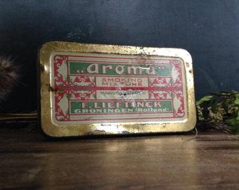Vintage Tobacco Tin Metal Box Aroma