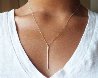 ON SALE Long Gold Bar Necklace - Gold Needle Necklace - Everyday Necklace - Gold Filled Necklace - Gold Necklace