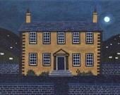 Brontë Sisters Greeting Card, Emily Brontë, Nocturnal, Haworth Parsonage, Full Moon, Silence, Wuthering Heights, Poetry, Naive Art, Folk