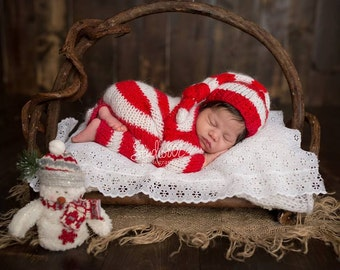 RTS - Santa Elf Set Newborn outfit, Christmas outfit,Christmas set,Newborn overalls,Santa Claus outfit,Santa Claus set,Photography props