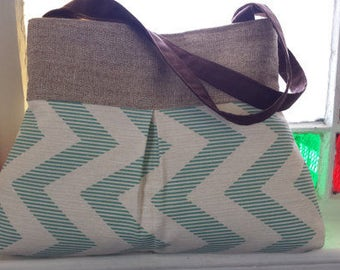 Pleated Handbag Tote  in Blue and Aqua Chevron
