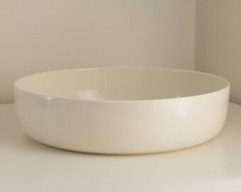 Huge Bauer Flat Centerpiece Bowl or Planter in Speckled White — Mid-Century Vintage