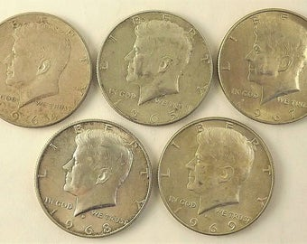 Lot Set of 5 Kennedy Half Dollar Coin, 1960's coins, 1964  1965 1967 1968 d 1969 d JFK Circulated, Philadelphia & Denver Mint Silver Coin
