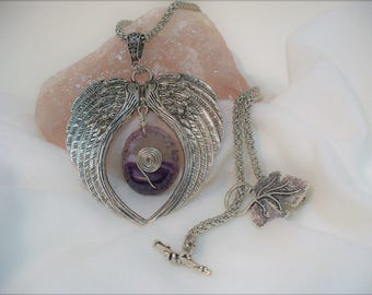 SOLD N0 (440) Wire Wrap Amethyst Embraced by Angel Wings