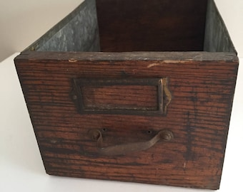 Vintage Rustic Wood Filing Drawer