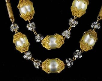 Signed Hobe Beaded Necklace Golden Brass Jonquil Moonglow Beads Rhinestone Accents Vintage Beauty