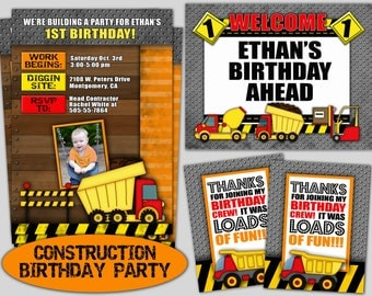 Construction Birthday Party - Construction Party Invite - Printable Construction Party - Construction Birthday Package -Construction Party