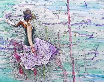 Bliss 13x19 Poster Print Girl Dancing Blissfest Joy Ecstasy Be Free Mixed Media Art Water Color Art Photographer Life Cheap On Sale Love