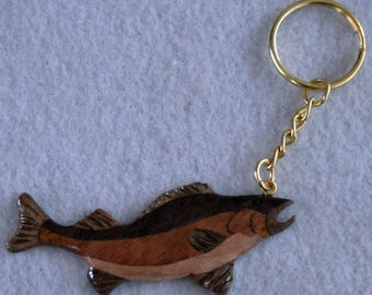 Keychain Fish  carved  Natural Wood for the Fisherman Fisherwoman
