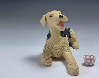 Airedale Terrier Ceramic Dog Sculpture and toy