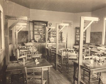 Physical Science Laboratory Classroom 2 of 2 large cabinet cards Timpson Texas original vintage photos pair