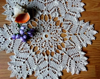 "Off-White crochet doily Round 36 cm / 14"". Crocheted Doily."