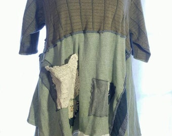 Upcycled  reworked  plus  size  tunic  in shades  of green  with  lace  and  hand  stitching