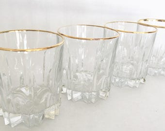 Vintage Glasses Gold Rimmed Old Fashioned Crystal Gold Rim Crystal  24 KTS Gold Italy Hand Decorated Four Rocks Glass Low Ball Bar Ware