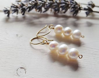 Ava - Stacked Large White Pearl Earrings, Ready to Ship