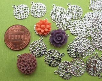 24 pcs Filigree Drop Charm Pendants - Vintage Style Filigree Settings - 15mm - Silver Tone