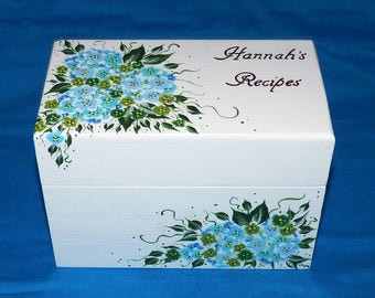 Custom Painted Wood Recipe Box Personalized Wooden Wedding Recipe Card Box Decorative Wood Gift Box Hydrangea Bridal Shower Gift