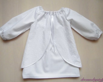 Short christening gown embroidery fabric