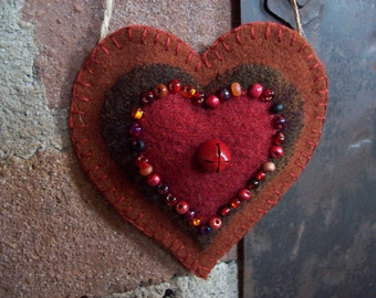 Candy Box Heart Sparkly Rustic Country Heart Valentine Ornament