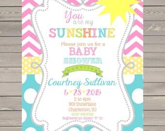 Sunshine Baby Shower invitations printable or digital file- DIY- ANY COLORS