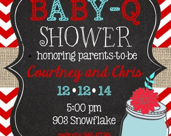 Baby Q  Baby Shower Invitations gingham chalkboard baby shower BBQ printable or digital file Invitations invites ANY COLORS
