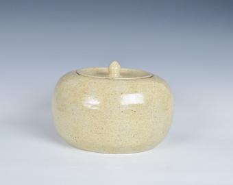 Ceramic lidded container, stoneware cookie jar, ceramic storage jar