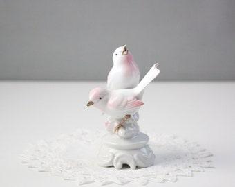 Gerold Co. Tettau Bavaria Germany -  Bird Figurine White and Pink