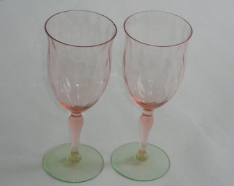 2 Vintage Pink Green Watermelon Depression Glass Goblets