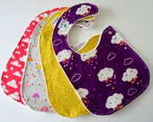 Side Snap Baby Bibs for Girl, Set of 4 - Clouds, Rain, Stars, Moons, Sky, Umbrellas, Minky Back