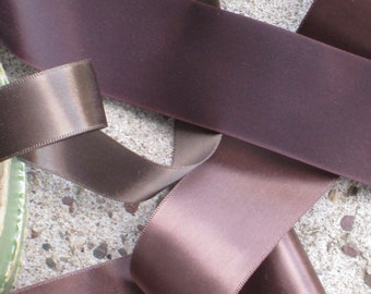 3 Yards Vintage French Brown Satin Ribbon - 3 Different Shades - Antique NOS Trim -  Sewing, Crafting, Decorating Supplies