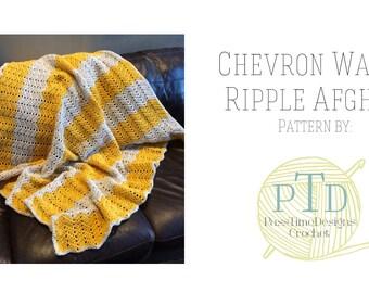 Chevron Waves Afghan ripple blanket crochet pattern