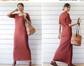 SPRING SALE Vintage rust red shiny metal thread ribbed knit short sleeve fitted maxi dress S