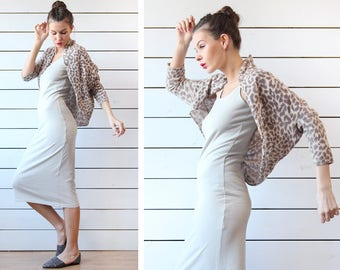Vintage beige brown leopard print pure cashmere knit long sleeve open front wrap bolero shawl cardigan top shoulder throw