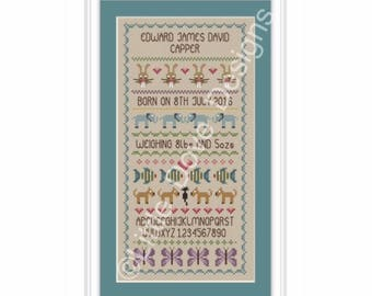 Baby Boy Birth Sampler Cross Stitch FULL KIT